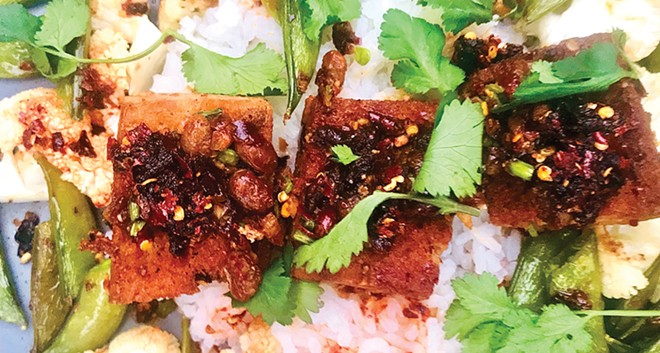 Tofu and Vegetables with Spicy Chili Crisp. - PHOTO BY ANN SHAFFER GLATZ