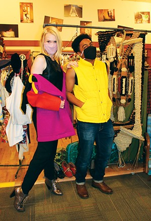 Cass Crawford and Vertrell Yates - showing off some vintage winter wear at Springfield Vintage. - PHOTO BY JOSEPH COPLEY. CLOTHING AND STYLE BY LINDA RENEHAN.