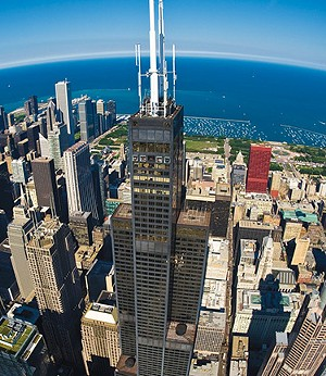 The view from Willis Tower, the state's tallest building, takes in Chicago, Lake Michigan and surrounding areas. The 110-story tower stands 1,450 feet. - PHOTO COURTESY OF THE SKYDECK AT WILLIS TOWER