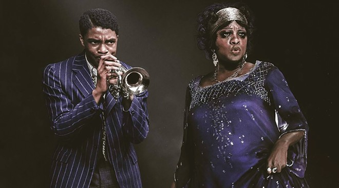 Chadwick Boseman as Levee and Viola Davis as Ma Rainey in Ma Rainey's Black Bottom.