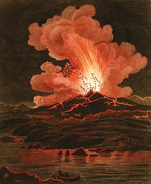The Tambora volcano in Indonesia erupted in 1815, causing global climate change and economic disruption, which by 1819 had led new settlers to the Sangamon country.