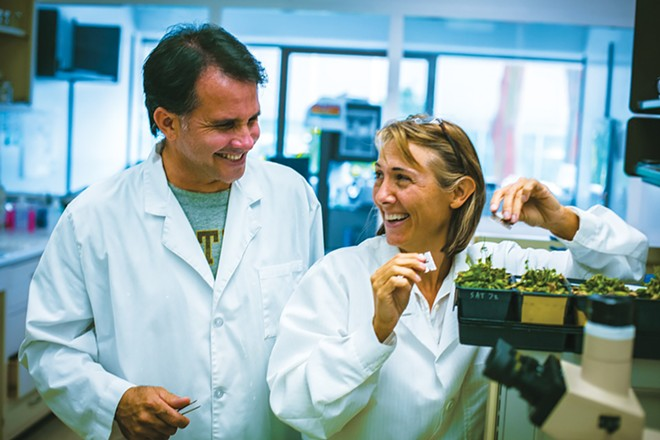Lab Girlauthor Hope Jahren with her lab partner, Bill Hagopian, at work in her research laboratory at the University of Oslo in Oslo, Norway. - PHOTO BY MATT CHING