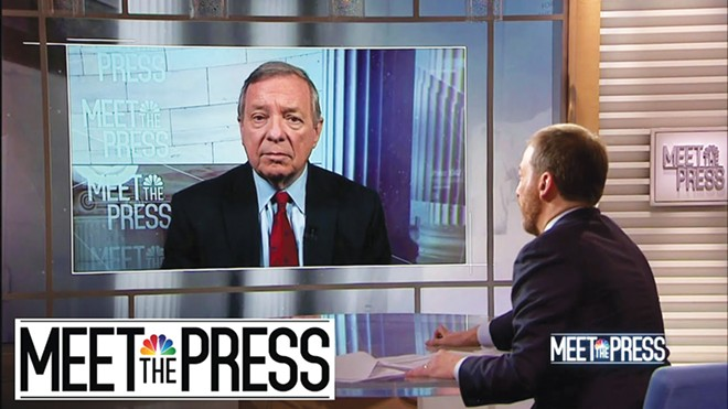 "Durbin with host Chuck Todd on NBC's ""Meet the Press."" - PHOTO COURTESY NBC."