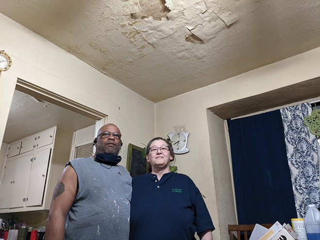 Rickie and Emily White say pandemic has precluded them from paying rent for a leaky house on Lowell Avenue. - PHOTOS BY BRUCE RUSHTON