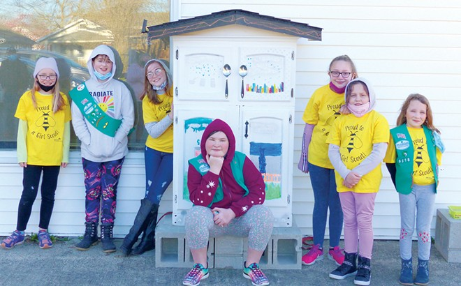 Girl Scout Troop #6318, from left to right: Lucy Derman, Nea Lael-Wolf, Sylvia Reynolds, Keyra Schmidt, Ava Peña, Izabella Peña and Maizie Peebles.