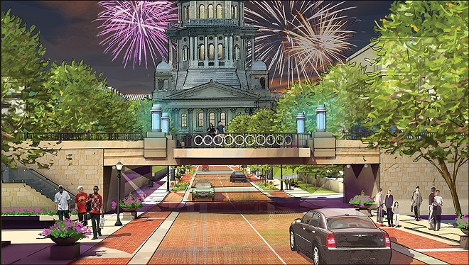 A Capitol Avenue train trestle, above, would be converted to a plaza under a plan drawn up a decade ago.