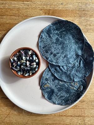 Blue corn tortillas. - PHOTO BY MATT DIAZ