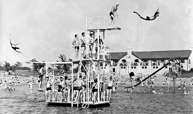Diving boards at public beach house. - PHOTO COURTESY SANGAMON VALLEY COLLECTION