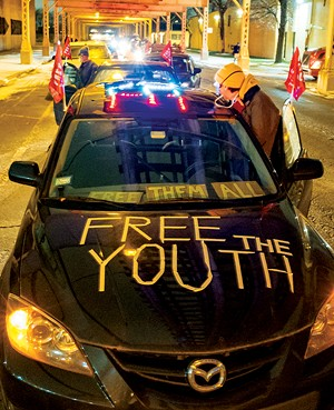 """Participants decorated their cars for the """"Loud and Lit Up: Rally to End Youth Incarceration"""" procession in Chicago on Dec. 16, 2020. - PHOTO BY SARAH-JI OF LOVEANDSTRUGGLEPHOTOS.COM"""