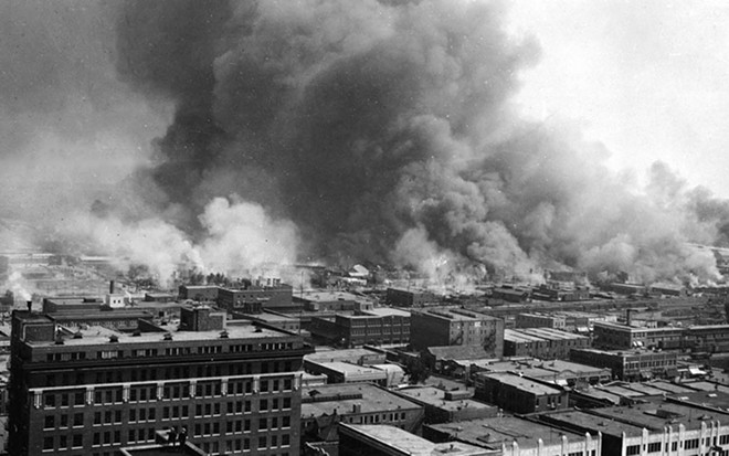 In 1921, the Greenwood District in Tulsa, Oklahoma, was the wealthiest Black community in the United States, known as Black Wall Street. Over Memorial Day weekend, mobs of white residents attacked Black residents and businesses, destroying more than 35 square blocks of the district in the single worst incident of racial violence in American history.