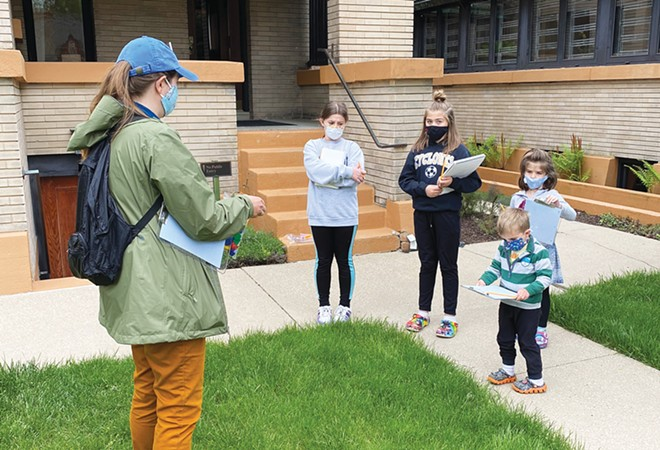 Jennifer Caldwell leads Grace Shovlin, age 10; Lily Ballentyne, age 11; Cecilia Shovlin, age 6; and Leo Shovlin, age 3, on a Frank Lloyd Wright drawing tour. - PHOTO COURTESY LANA SHOVLIN