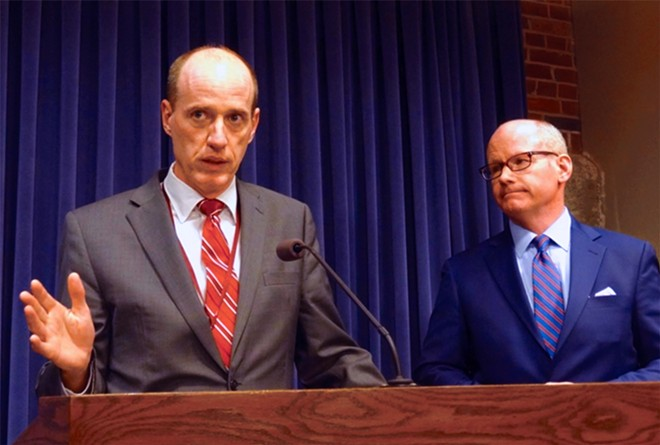 State Sen. Bill Cunningham, D-Chicago, and Senate President Don Harmon, D-Oak Park, speak at a news conference Tuesday night after the chamber failed to bring an energy overhaul bill for a vote. They said they expect a vote to happen sometime this summer as negotiations continue. - HOTO BY PETER HANCOCK/ CAPITOL NEWS ILLINOIS
