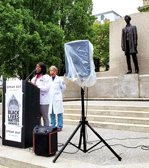 Barra Madden, a student at SIU School of Medicine in Springfield, told - attendees at the May 15 mental health rally that there is a need to raise awareness and promote change regarding mental health services. - PHOTO BY RACHEL OTWELL