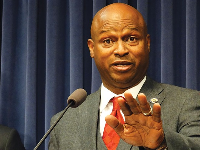 """House Speaker Emanuel """"Chris"""" Welch speaks at a news conference after the House adjourned June 16 at the Illinois State Capitol. - CREDIT: CAPITOL NEWS ILLINOIS PHOTO BY PETER HANCOCK."""