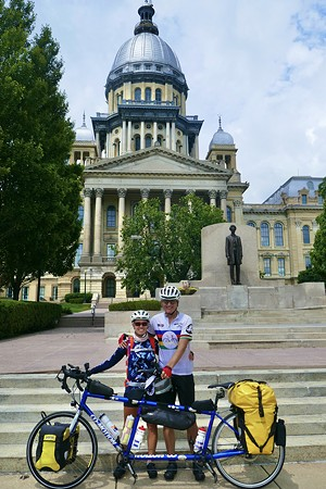 Vickie Wilson and Dan Reagin with their tandem bicycle enroute from Flagstaff to Chicago on Tour de Route 66.