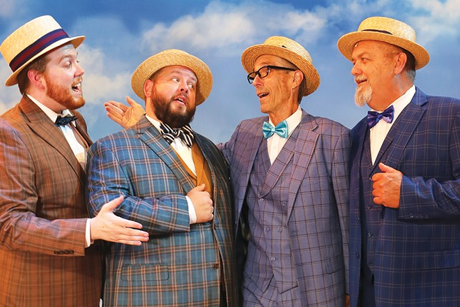 From conflict to friendship. The contentious members of the River City, Iowa, school board, make harmony together from The Legacy Theatre's The Music Man. From L to R: Ewart Dunlap (tenor Evan Rumler), Jacey Squires (tenor Greg Runyard), Olivier Hix (baritone Dennis Darling) and Olin Britt (bass Mark Anderson). - PHOTO BY LAURA KAY COFFEY