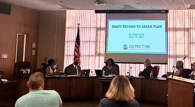 On July 19, the District 186 board reviewed a draft plan regarding masks. Guidance has shifted since the plan was reviewed. A vote is expected Aug. 2. - RACHEL OTWELL