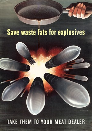 A WWII poster created by the American Fat Salvage Committee to encourage homemakers to contribute their bacon fat to the war effort. - COURTESY HENNEPIN COUNTY LIBRARY DIGITAL COLLECTIONS