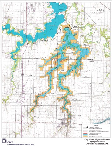 A drafted map shows the proposed Hunter Lake to the right of Lake Springfield. - CREDIT: PUBLIC DOMAIN, CWLP.COM