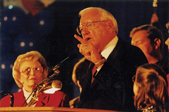 Gov. George Ryan addresses a crowd while his wife, Lura Lynn, looks on. - PHOTO COURTESY ABRAHAM LINCOLN PRESIDENTIAL LIBRARY.