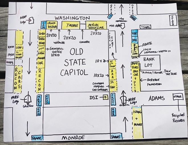 """A work-in-progress map of the car show layout drawn by """"Coop"""" from information provided by """"Shaner."""""""