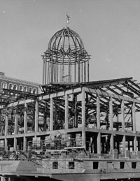 Stone-by-stone dismantling of the Old State Capitol began in February 1966 and reconstruction began in July 1966. A new site for the Illinois State Historical Library was built underneath the old capitol.