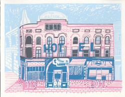 Becker's drawing of the Moscow Hotel shows a contrasted light white and blue above the building to show what once stood years ago.