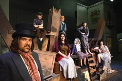 """The cast of """"Les Miserables"""" at the Lewiston Civic Theater include members of multiple families. (From left to right) Among the ensemble, Jon Lane shares the stage with his son Frank, 7, wife Kelly Riddle, and son Paul, 5. Kai Klempel, 8, stars as the young Eponine while her brother, Amos, 10, plays Gavroche and her mother Amanda plays multiple roles. - BARRY KOUGH"""