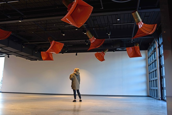 """The sound sculpture """"Ambiente432,"""" by Trimpin, is a permanent installation in the new musuem."""