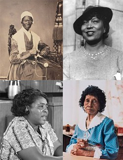 Top left: Sojourner Truth, top right: Zora Neale Hurston, Bottom left: Clementine Hunter, Bottom right: Fannie Lou Hamer