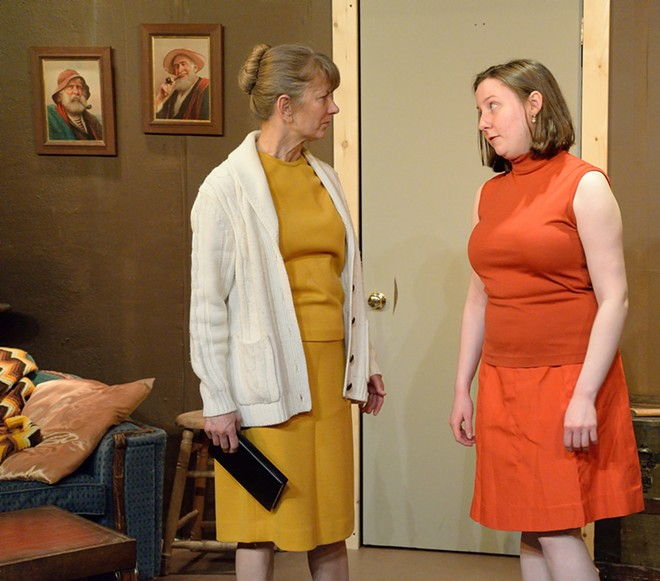 """Trish Gardner plays Diane and Susanna Opsal plays Julia in Regional Theatre of the Palouse's adaptation of """"The Birds."""""""