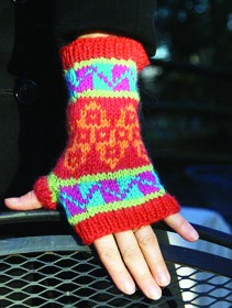 Work by Mary Jane Mucklestone, who has studied knitting patterns from around the world.