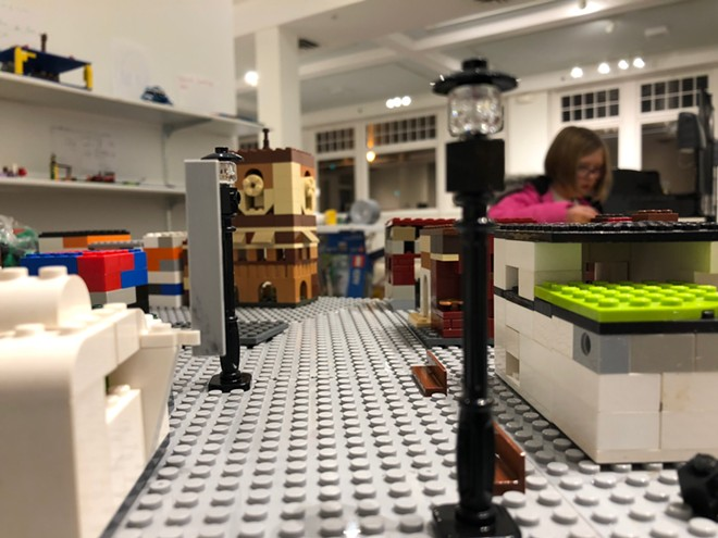 "Downtown Lewiston was built using Legos in the exhibit ""Rethink Downtown,"" on display at the LCSC Center for Arts & History. The exhibit is part of work to create a master plan for the future of the district."