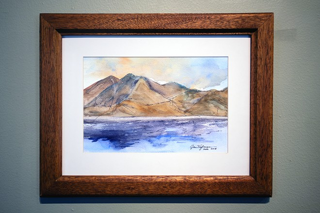 "Jan VogtmanChief Timothy Park""Sunset on the Snake""Watercolor and Pen$150 - TRIBUNE/PETE CASTER"