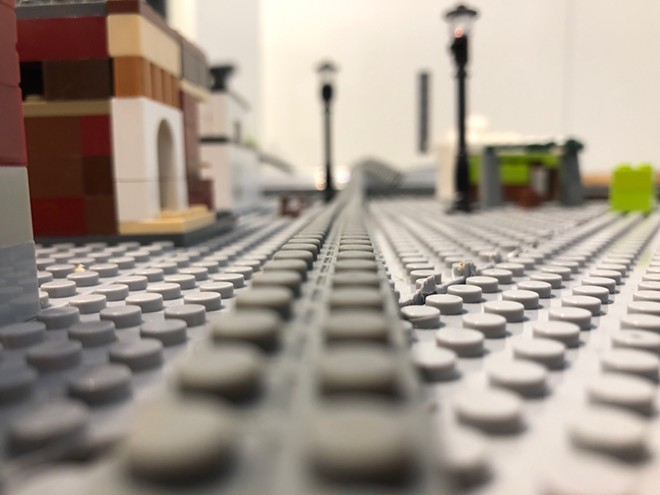 Downtown Lewiston is reconstructed using Legos in the exhibit.