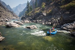 During the day the group floats down the Salmon River to its next stop for the night.
