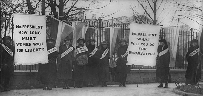 The Silent Sentinels began picketing the White House in 1917. Their silent protests led to scorn, arrests and beatings.