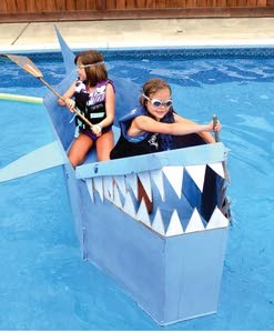 Our cardboard boat was seaworthy, briefly.