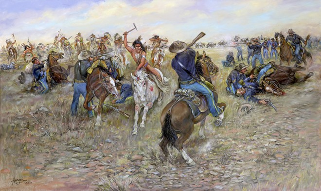 One of 15 paintings on Inland Northwest frontier battles painted by Nona Hengen of Spangle, Wash.
