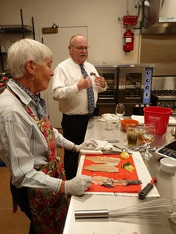Recent culinary class participants learned the basics of fixing a trout dinner from Bill Jollymore and Aaron Jollymore.