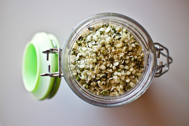 Hemp seeds are a health food product that come from the cannabis plant.