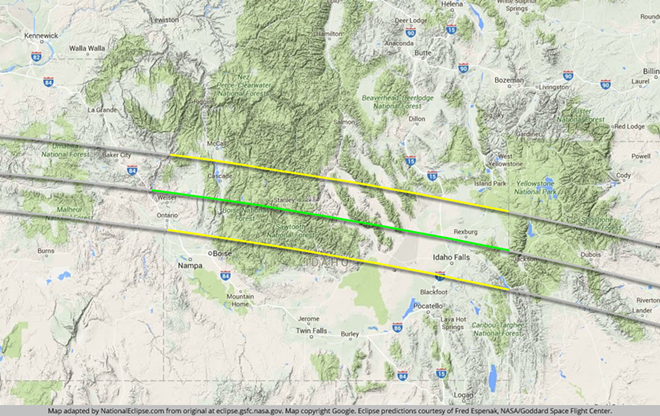 The path of totality will travel through southern Idaho in a roughly 70-mile wide band. One must be within this area to experience all the phenomenon associated with a total eclipse.