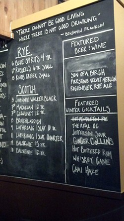 The blackboard in the bar at Birch & Barley features an ever changing array of liquid refreshment.