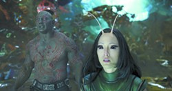 """This image released by Disney-Marvel shows David Bautista, left, and Pom Klementieff in a scene from, """"Guardians Of The Galaxy Vol. 2."""" - DISNEY-MARVEL VIA AP"""