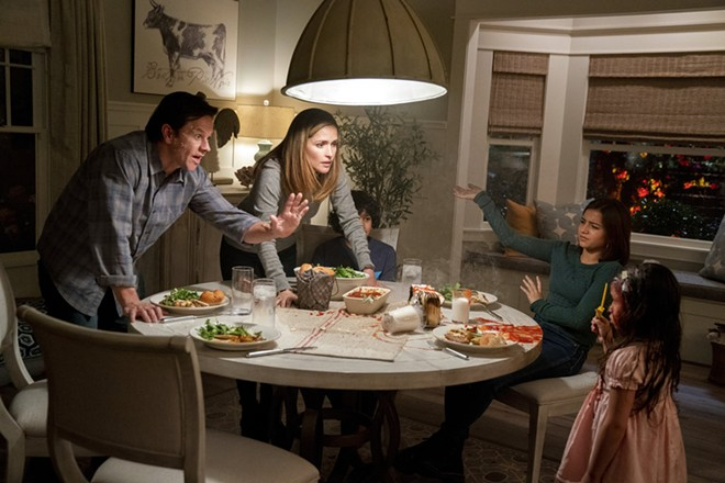 """This image released by Paramount Pictures shows Mark Wahlberg, from left, Rose Byrne, Gustavo Quiroz, Isabela Moner, and Julianna Gamiz in a scene from """"Instant Family."""" - HOPPER STONE/PARAMOUNT PICTURES VIA AP"""