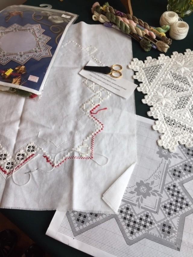 Hardanger lace, work in progress.