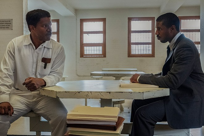"""Jamie Foxx (left) and Michael B. Jordan (right) in a scene from """"Just Mercy"""" released by Warner Bros."""
