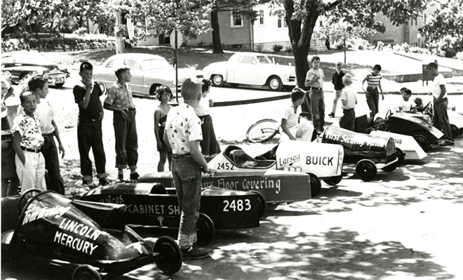 Moscow soap box derby, 1953. Photo courtesy of Latah County Historical Society.