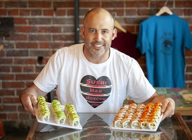 Sushi Man owner Jonathan Rau sells a variety of shushi at One World Cafe in Moscow. Rau also sells sushi at the Moscow Farmer's Market.