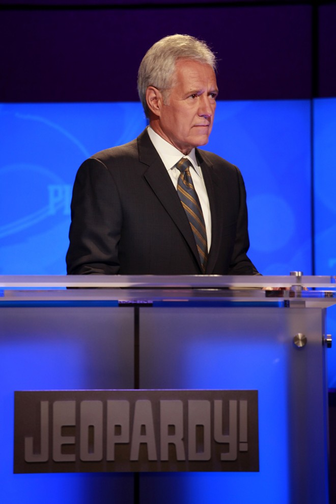 """The host of """"Jeopardy!"""", Alex Trebek, rehearses for an upcoming January 2011 show featuring a trivia showdown against an IBM computer in Yorktown Heights, New York. Trebek died Sunday, Nov. 8, 2020; he was 80. (Carolyn Cole/Los Angeles Times/TNS), - CAROLYN COLE"""